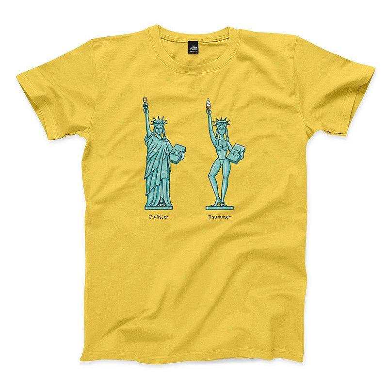 自由女神換季 - 黃 - 中性版T恤