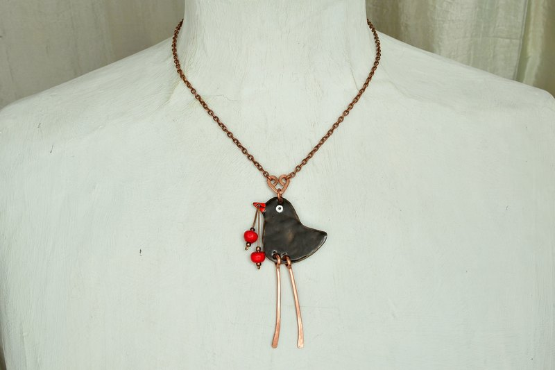 Blackbird, Bird Necklace, Bird Pendant,Currant,Song Bird, Enamel Necklace,