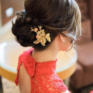 Butterfly bride headdress hairpin gold butterfly