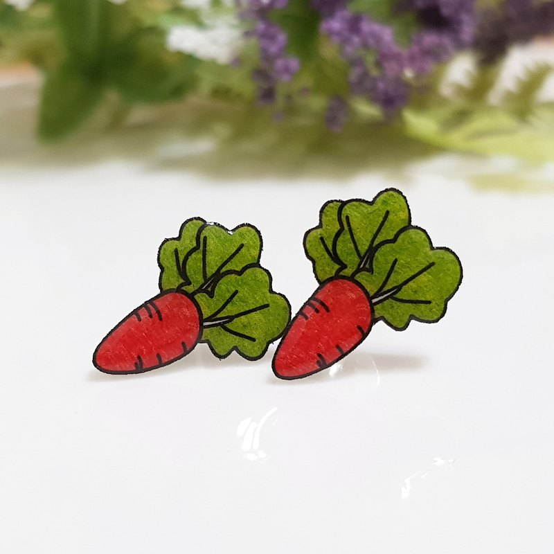 Carrots Nutritional Full Carrot Earrings Ear Clips - Food Series