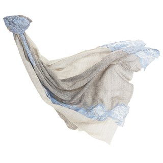 [Angel Woolen] Time Secret Indian Handmade Cashmere Lace Shawl - Gray Blue