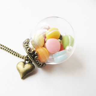 *Rosy Garden* Rainbow Macarons big glass ball necklace