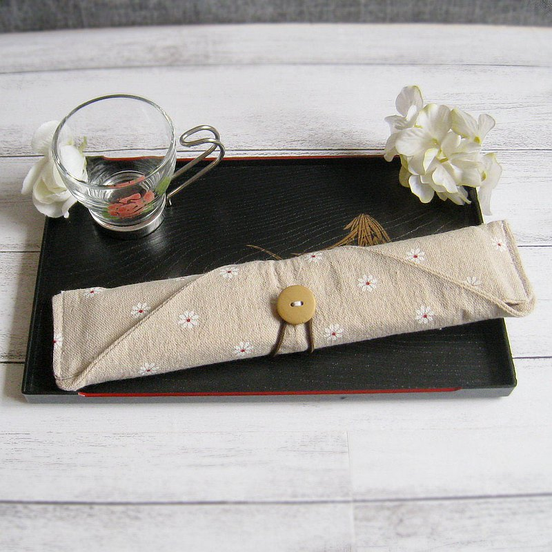 環保餐具組 餐具套 筷子套、餐具布套 飲管袋 CH-003 田園小菊