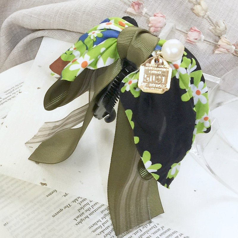 Olive Green Flower Striped Yarn Banana Clip Intersect Clip Hair Ring Hair Bun Fairy Clip
