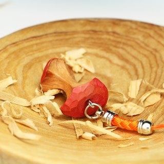 Wooden eating apple charm (luxury)--woodcut--handmade - hand made [optional color]