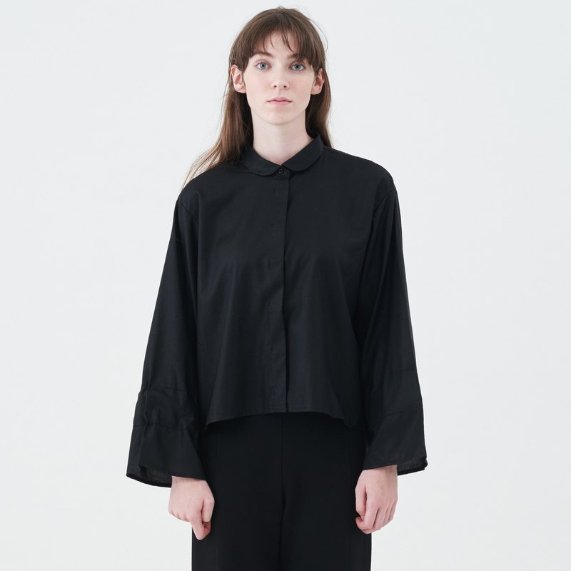 TRAN - cropped wide-sleeve blouse