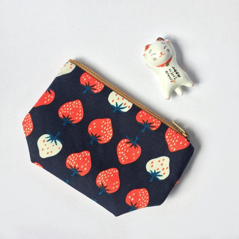 Strawberry Cute Small Cotton Pouch, Coin Pouch
