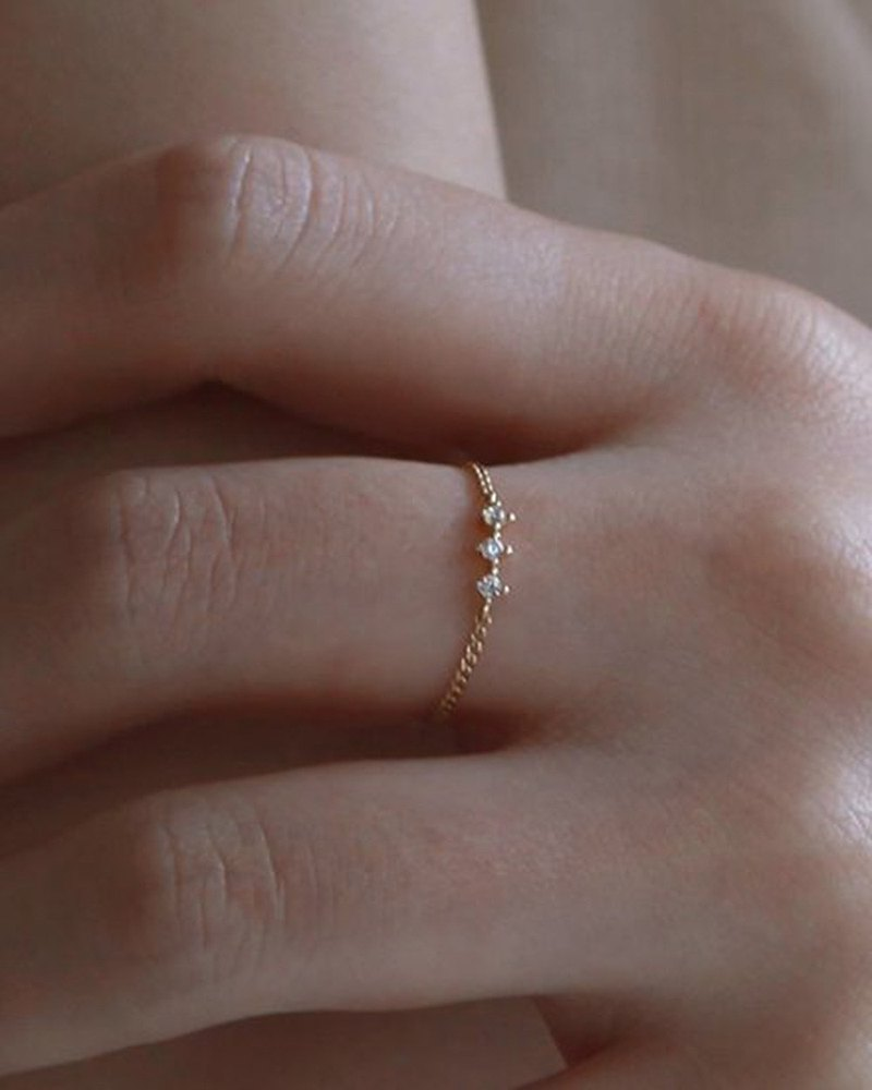 14K gold pure K gold ring left in the Aegean Sea 14k gold three Q chain ring K gold ring
