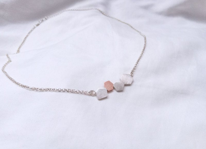 [Nature] Small gravel necklace Gravel necklace - sterling silver + red copper -