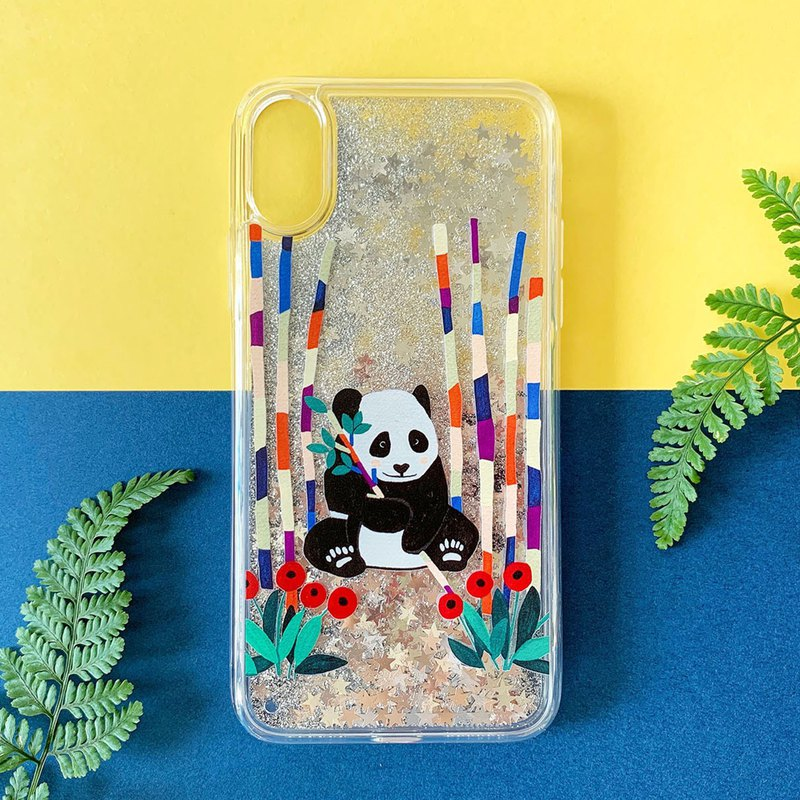iPhone12 Series Case // Panda and Bamboo // Glitter iPhone Case // Silver Star