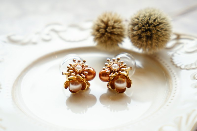 Planting - Solid Flower Ball Earrings