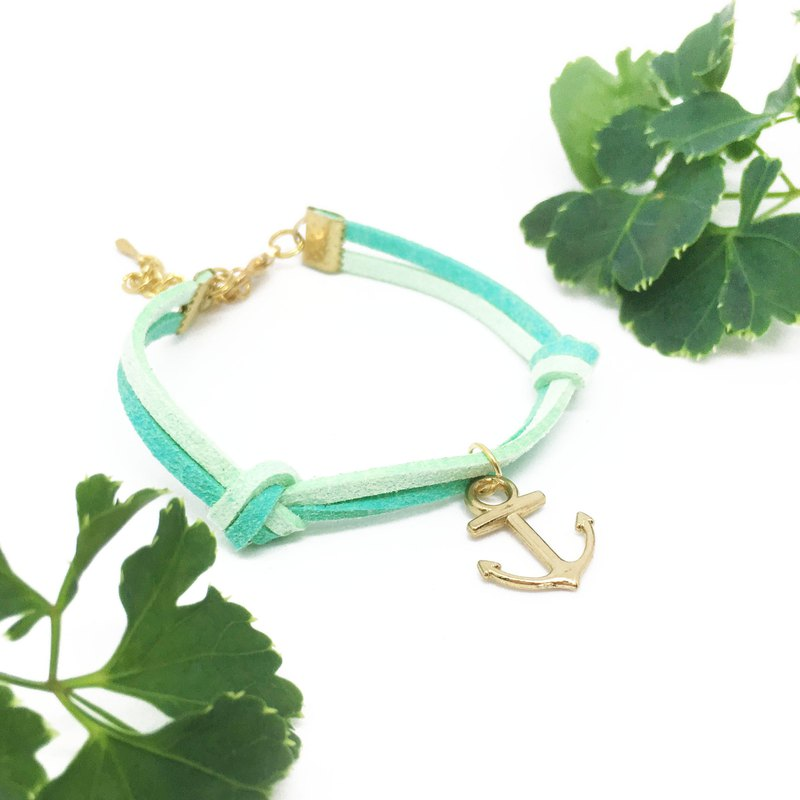 Handmade Simple Stylish Anchor Bracelets Rose Gold Series–mint green limited