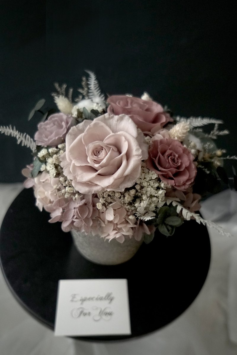 Birthday Opening Ceremony Morandi Rose / Hydrangea Immortal Flower / Not Withered Flower Imported Silver Porcelain Table Flower