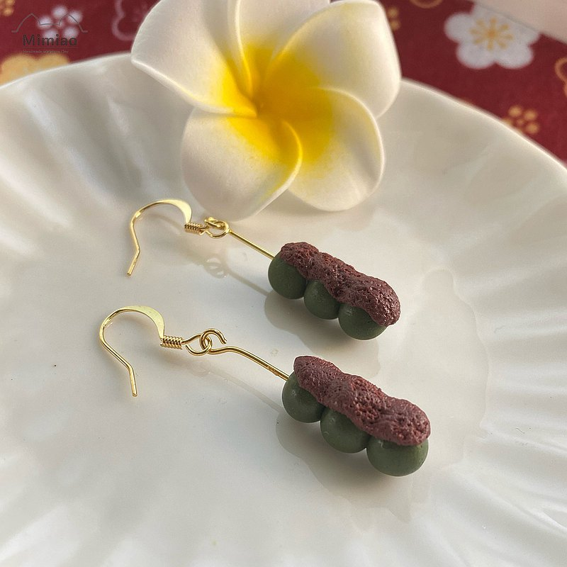 Japan Matcha&Red Beans Dango Earrings, Miniatures