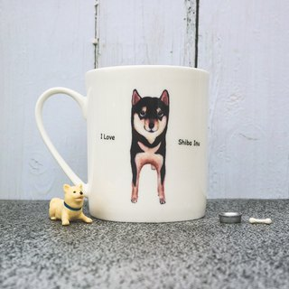 Bone China Mug - Cute little black wood / Shiba Inu / Chai Chai / microwave / through the SGS