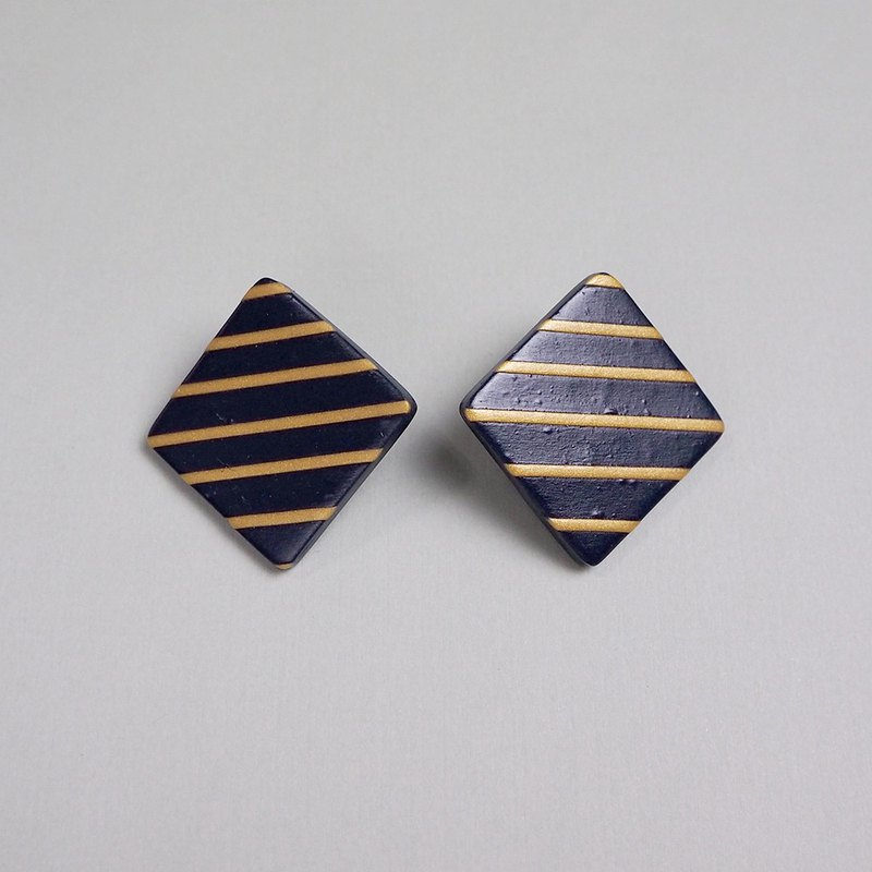 Soft Ceramic Earrings - Blue Gold Stripe - PSYAA16