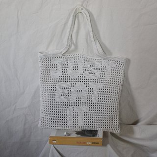 White Personalized Quote Crochet Tote Bag ,Crochet Bag ,Handmade Bag