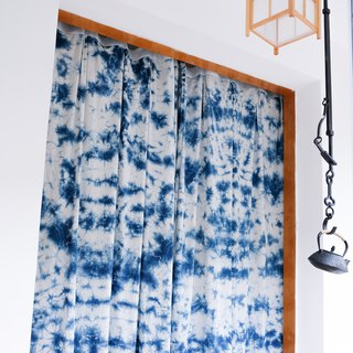 Ice flower hand-dyed blue dyed cotton curtain curtain original design natural grass dyed finished curtains