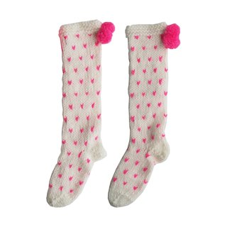 British Miss PomPom / extra-thick love pattern wool-blend hand-knit socks (cream bottom pink love)