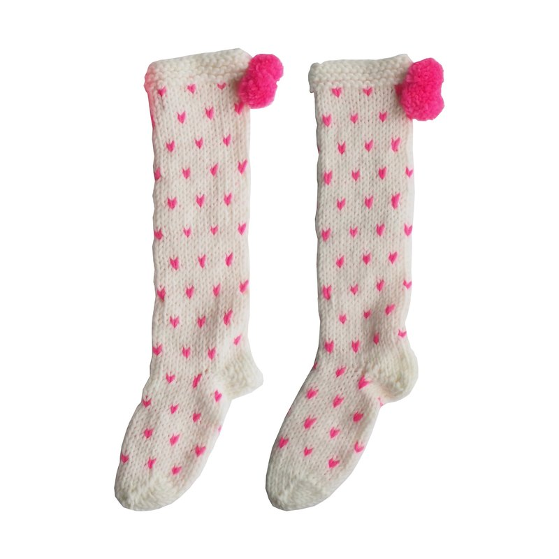 British PomPom / super thick love pattern wool blend hand-woven socks