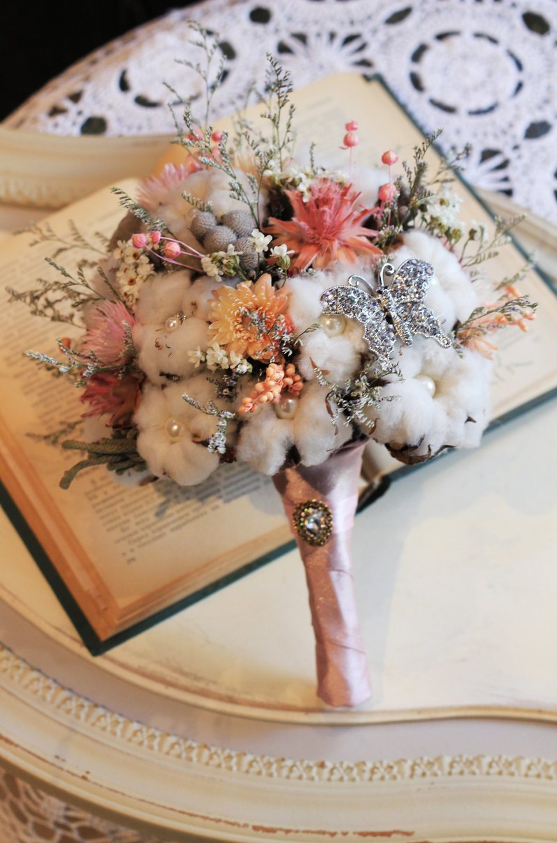Dried flower bouquet jewelry [paragraph] Cotton / pink
