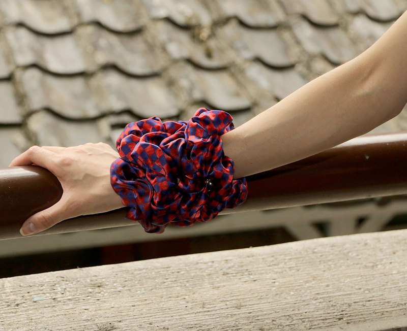 "<Double Specials> ""Mille Plateaux"" Orange Purple Plaid Printed Silk Elastic Fashion Bracelet"