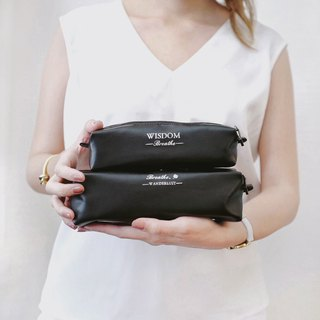 Black Pencil case / Leather Pencil holder  / Makeup bag /  Pen pouch
