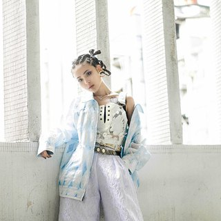 White embossed blue transparent gauze jacket