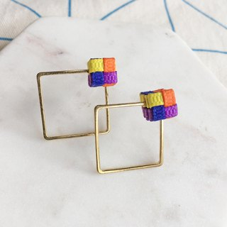 Knitted / Color Blocking / Rectangle / Earrings