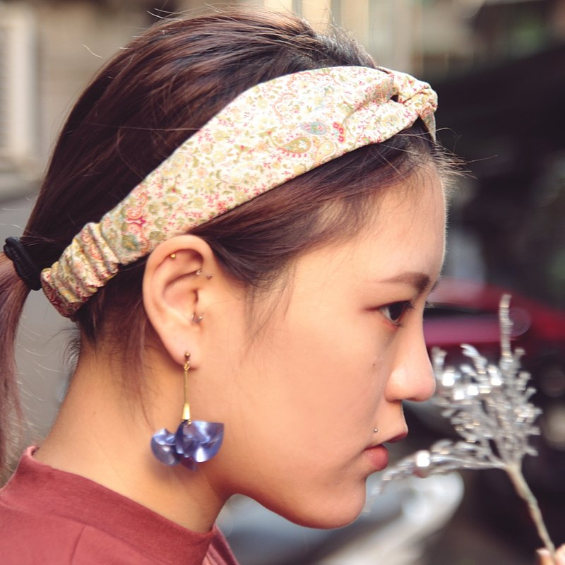 群花/花紋/手工十字鬆緊髮帶_Garden//Cotton/Taiwan Hand made hair band