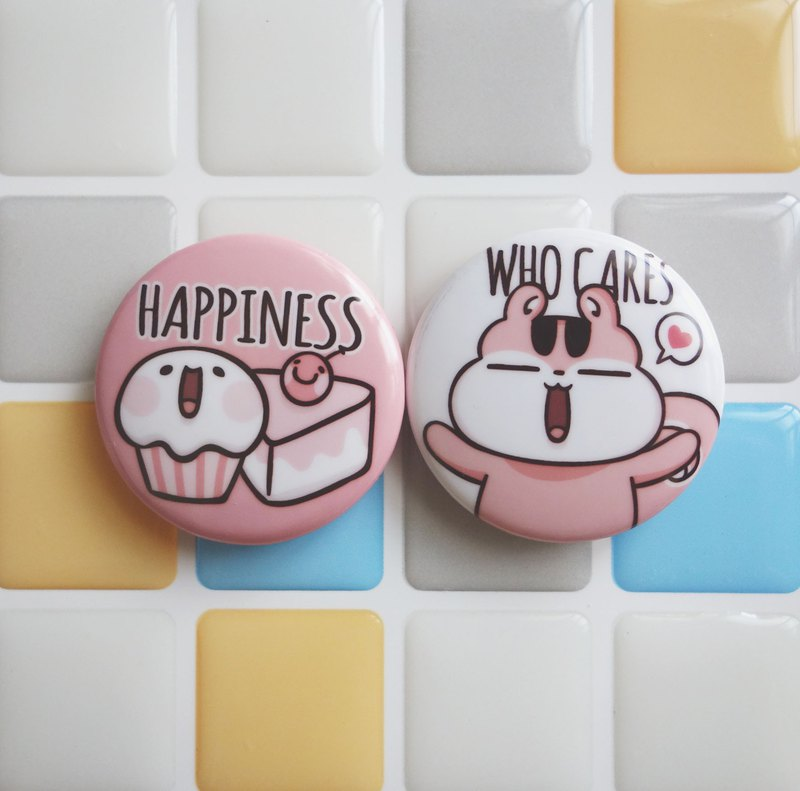 Pin Magnet Two in One Small Badge 2 - Happiness / (1 serving 2 in)