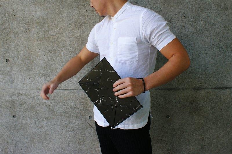 大理石信封平板包(黑)