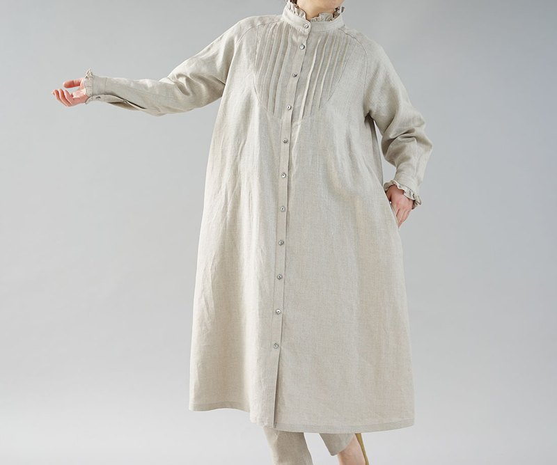 wafu  Linen dress / long sleeve / frill design / cardigan / beige  a081n-amn2