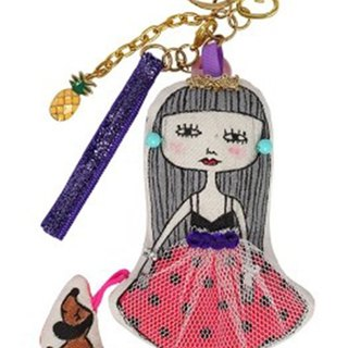 Dog dog girl keyring