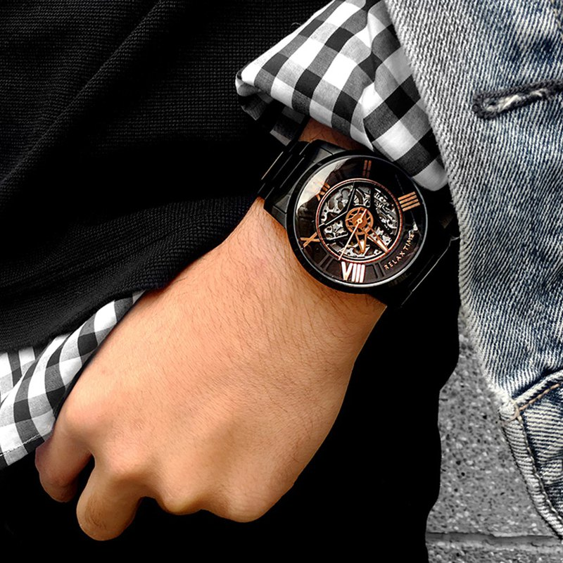 RELAX TIME texture handsome mechanical watch - black X rose gold (RT-61X-3)
