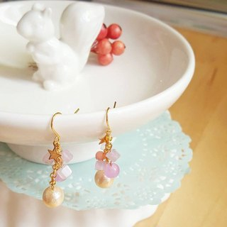 Starry Pieces Cotton Pearl Earrings- pale purple