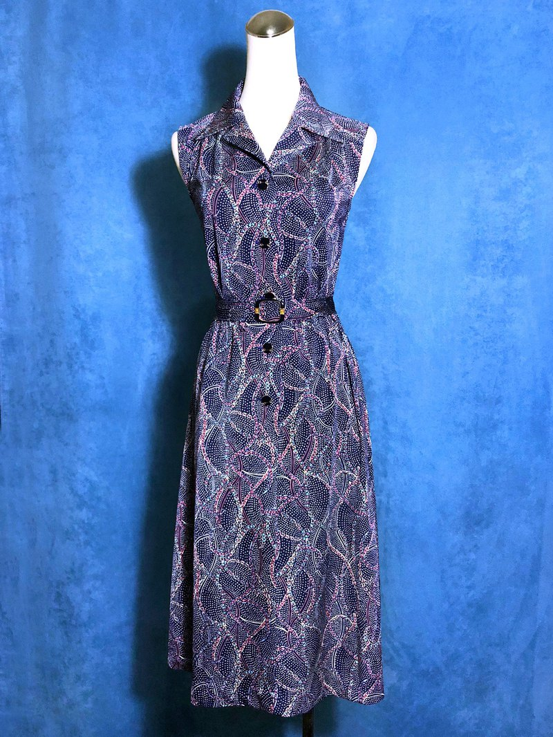 Totem Belt Sleeveless Vintage Dress / Foreign Return to VINTAGE