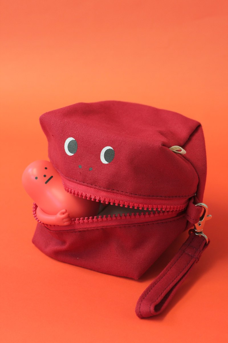 Red Glutton Monster Square (cube) Zip Purse