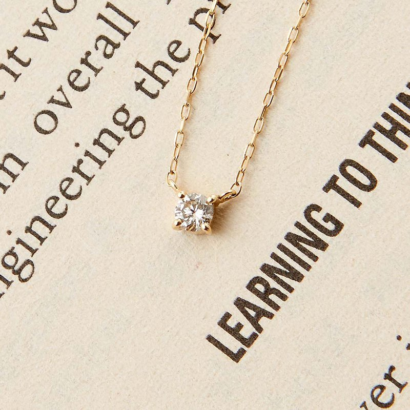 K14 Love Single Diamond Diamond Necklace