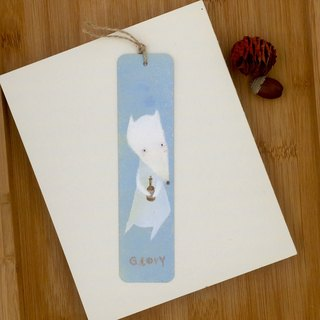 [Only one] hand-painted metal bookmarks, white fox - light blue and yellow