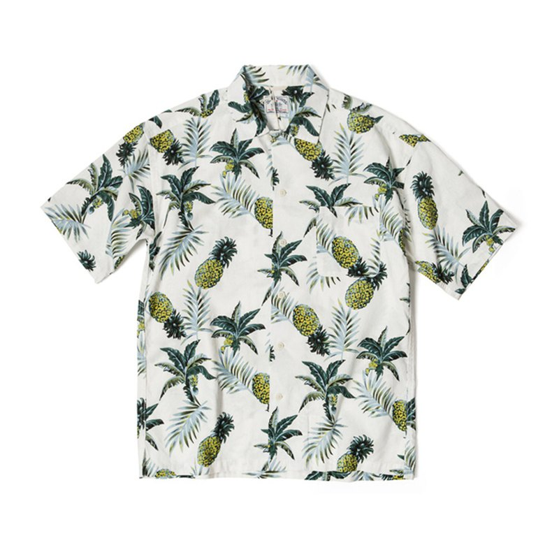 Pineapple Print Hawaii Shirt - White