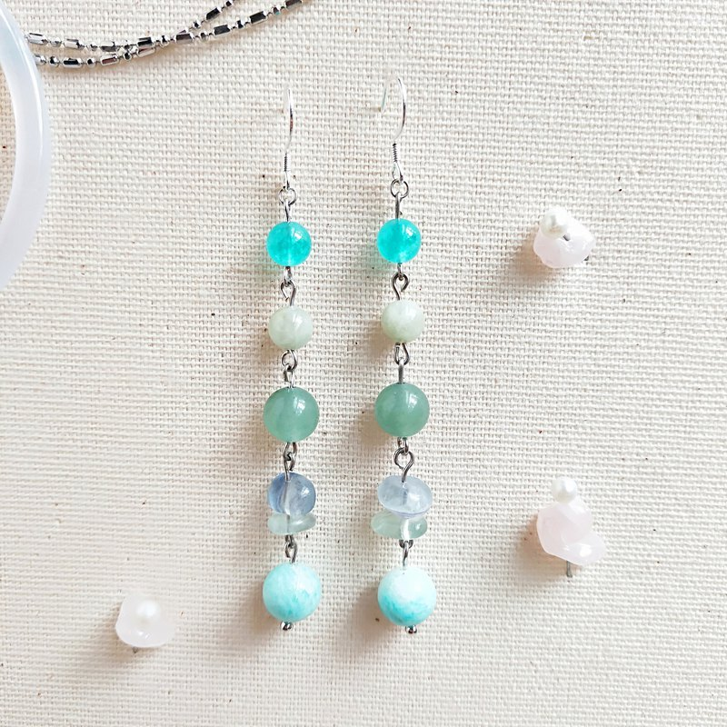 J013-natural stone bead string earrings forest beauty