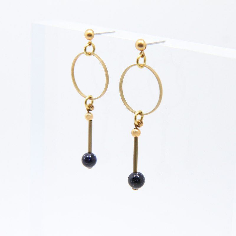 Chemistry Small Round Blue Sandstone Earrings