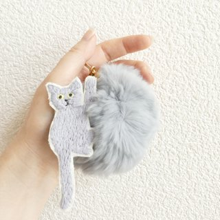 Fur Ponpon Bag Charm Embroidery Cat Gray