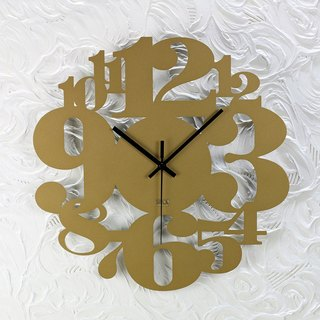 "[] OPUS East homogeneous metalworking Continental Iron Clock ""numbers game"" gold bronze / metal texture / Mute Wall Clock / modeling wall clock / mute movement / married into the house gift CL-ar06 (G)"