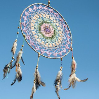 Ethnic style boho hand-woven cotton and linen rainbow dream catcher hanging dream Cather-lavender forest