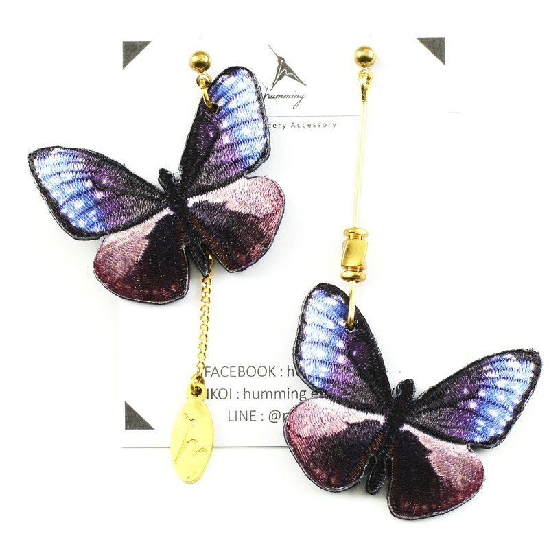 Embroidery earrings /Euploea mulciber barsine