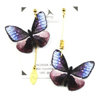 humming-purple butterfly embroidery earrings stainless steel ear pin / can be changed clip / butterfly series /