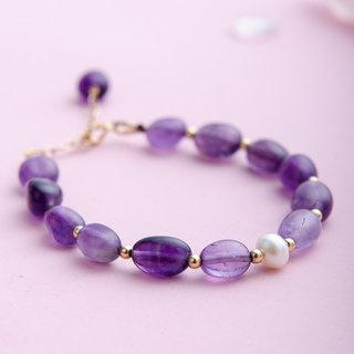 Amethyst, Pearl, 14K Gold Filled Natural Gemstone Crystal Bracelet