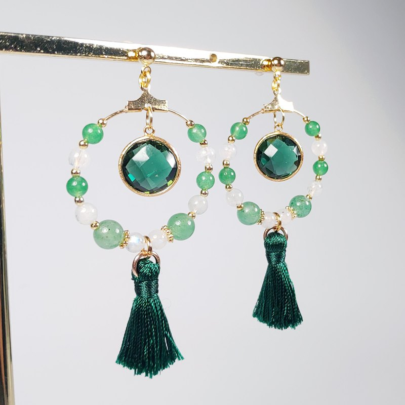 Natural Beryl Emerald Dongling Jade Moonstone Elegant Tassel Earrings / Clip Lover Mother